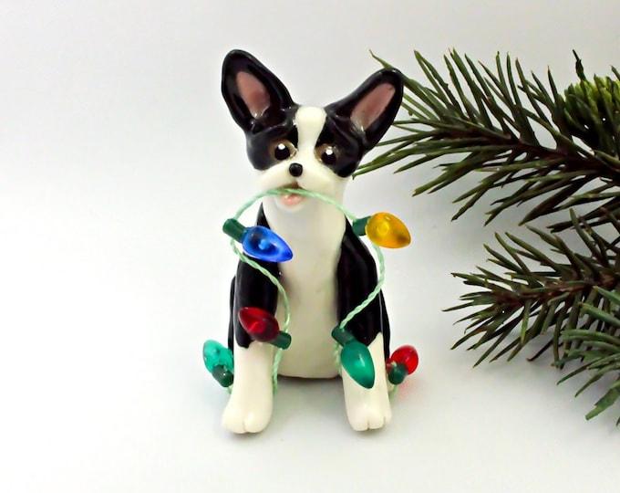 Featured listing image: Boston Terrier Christmas Ornament Figurine Lights Porcelain
