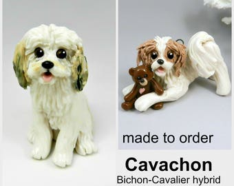 Cavachon Dog Made to Order Christmas Ornament Figurine in Porcelain