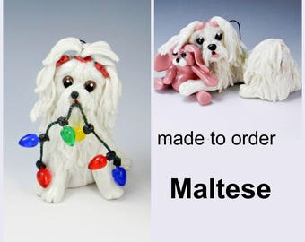 Maltese PORCELAIN Christmas Ornament Figurine Made to Order
