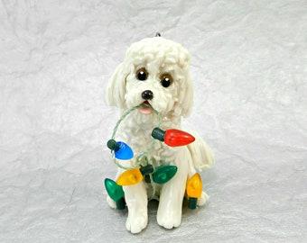 Bichon Frise  Porcelain Christmas Ornament Figurine with Lights