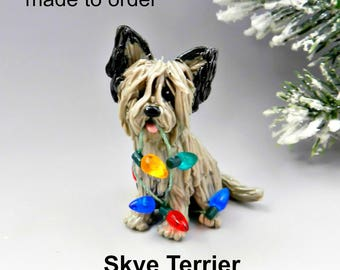 Skye Terrier Dog Made to Order Christmas Ornament Figurine in Porcelain