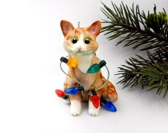 Orange Tabby Cat Porcelain Christmas Ornament Figurine Lights Clay