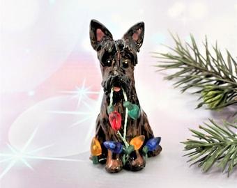 Brindle Scottish Terrier Porcelain Christmas Ornament Figurine Dog with lights