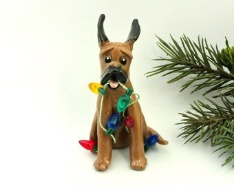 Great Dane Fawn Porcelain Ornament Christmas Figurine with Lights