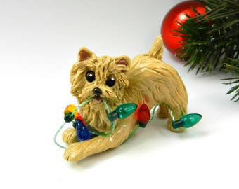 Norwich Terrier Christmas Ornament Figurine Porcelain Clay Lights