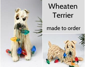 Soft Coated Wheaten Terrier PORCELAIN Christmas Ornament Figurine Made to Order