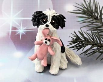 Havanese Black White PORCELAIN Christmas Ornament Figurine Pink Bunny