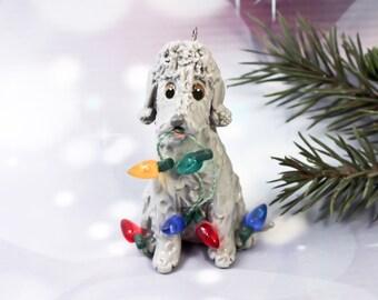 Bedlington Terrier Blue PORCELAIN Christmas Ornament Figurine Lights OOAK