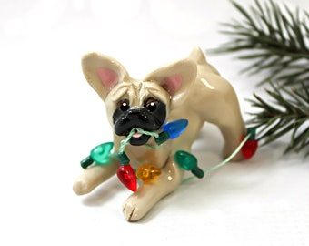 French Bulldog Fawn PORCELAIN Christmas Ornament Figurine Lights