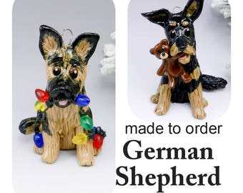 German Shepherd Dog Porcelain Christmas Ornament Figurine Made to Order