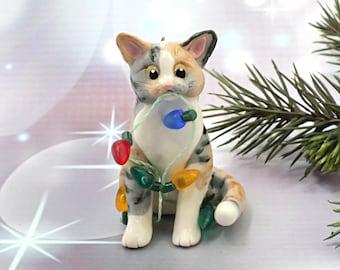 Cat Calico Tabby Porcelain Christmas Ornament Figurine Lights
