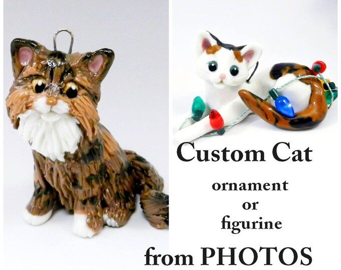 Featured listing image: Cat Custom made from Photos as a Christmas Ornament, memorial or figurine