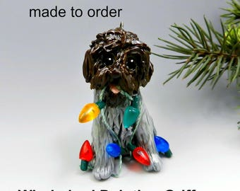 Wirehaired Pointing Griffon Dog Porcelain Christmas Ornament Figurine Made to order