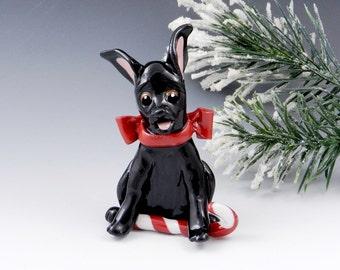 Miniature  Pinscher Doberman Black Christmas Ornament Figurine Porcelain