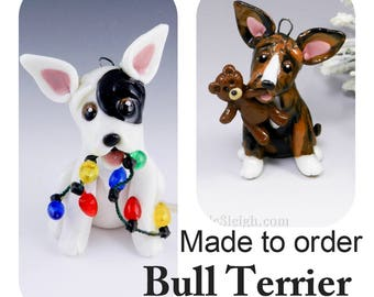 Bull Terrier Bully Made to Order Christmas Ornament Figurine in Porcelain