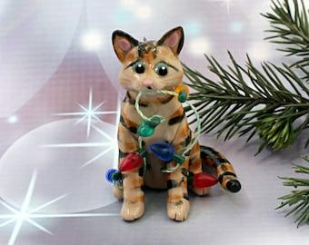 Brown Tabby Cat Porcelain Christmas Ornament Figurine Lights