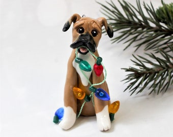 Boxer Fawn Porcelain Christmas Ornament Figurine Lights
