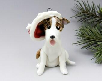 Greyhound Brindle White Christmas Ornament Figurine Santa Hat Porcelain Clearance