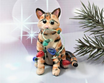 Brown Tabby Cat Porcelain Christmas Ornament Figurine Lights