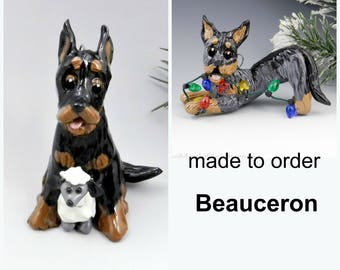 Beauceron Made to Order Christmas Ornament Figurine in Porcelain