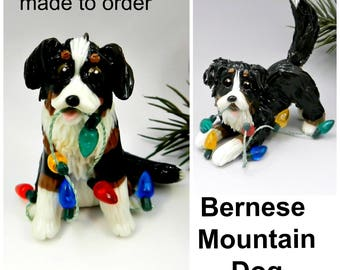 Bernese Mountain Dog PORCELAIN Christmas Ornament Figurine Made to Order