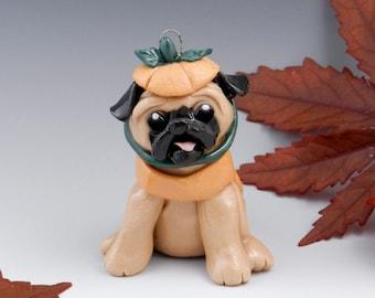 Pug Ornament Pumpkin Costume Porcelain Clearance