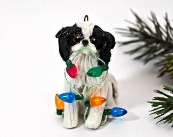 Japanese Chin Black Porcelain Christmas Ornament Figurine Lights OOAK