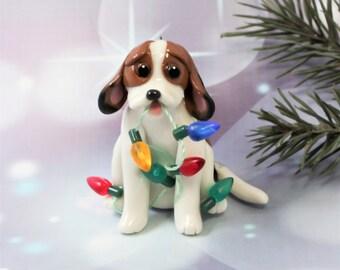 Beagle Tricolor PORCELAIN Christmas Ornament Figurine Lights