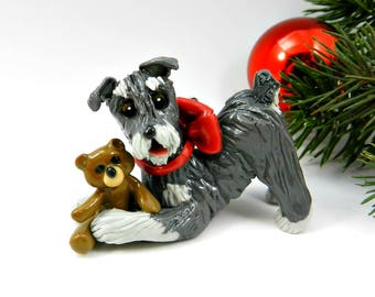 Schnauzer Porcelain Christmas Ornament Figurine Salt Pepper with Teddy Bear