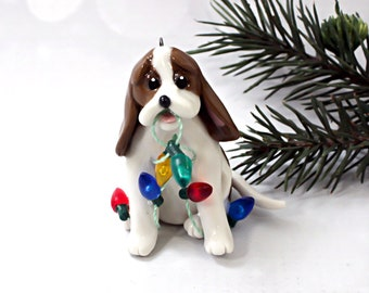Basset Hound Red White Porcelain Christmas Ornament Figurine Lights