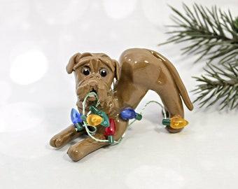 Dogue de Bordeaux PORCELAIN Christmas Ornament Figurine Lights