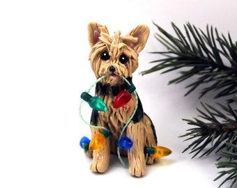 Yorkshire Terrier Yorkie PORCELAIN Christmas Ornament Figurine Lights