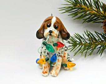 Treeing Walker Coonhound PORCELAIN Christmas Ornament Figurine Lights OOAK