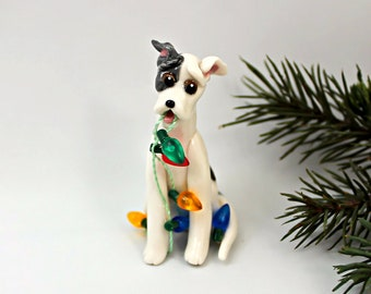 Whippet Gray Brindle White PORCELAIN Christmas Ornament Figurine with lights