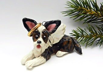 Angel Cardigan Welsh Corgi Brindle Christmas Ornament Figurine Memorial Porcelain