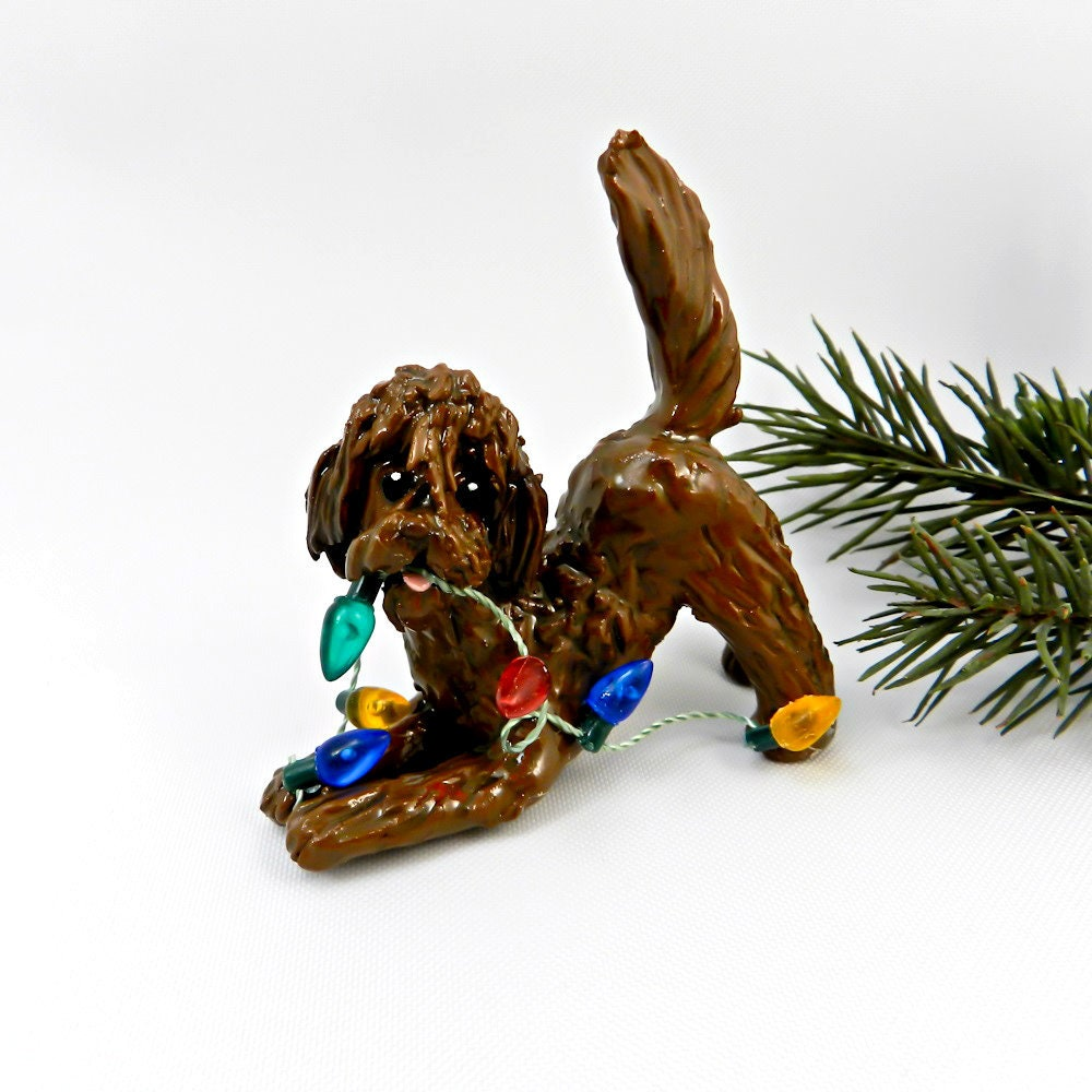 labradoodle goldendoodle brown porcelain christmas ornament figurine clay lights