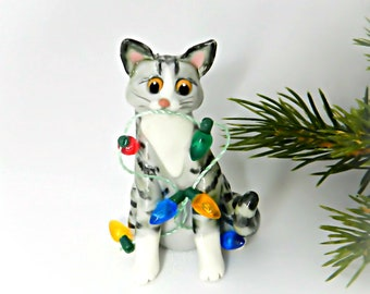 Silver Tabby Cat Porcelain Christmas Ornament Figurine Lights Clay