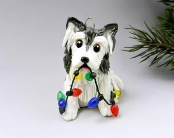Alaskan Malamute Porcelain Christmas Ornament Figurine with Lights