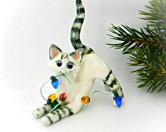 Siamese Lynx Point Cat PORCELAIN Christmas Ornament Figurine