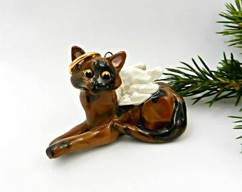 Tortoiseshell Cat Tortie Angel Porcelain Christmas Ornament Figurine OOAK