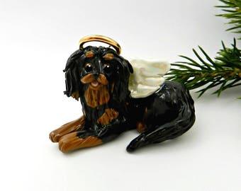 Cavalier King Charles Spaniel Angel Black Tan Porcelain Christmas Ornament Memorial