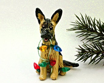 German Shepherd Dog Porcelain Christmas Ornament Figurine with Lights
