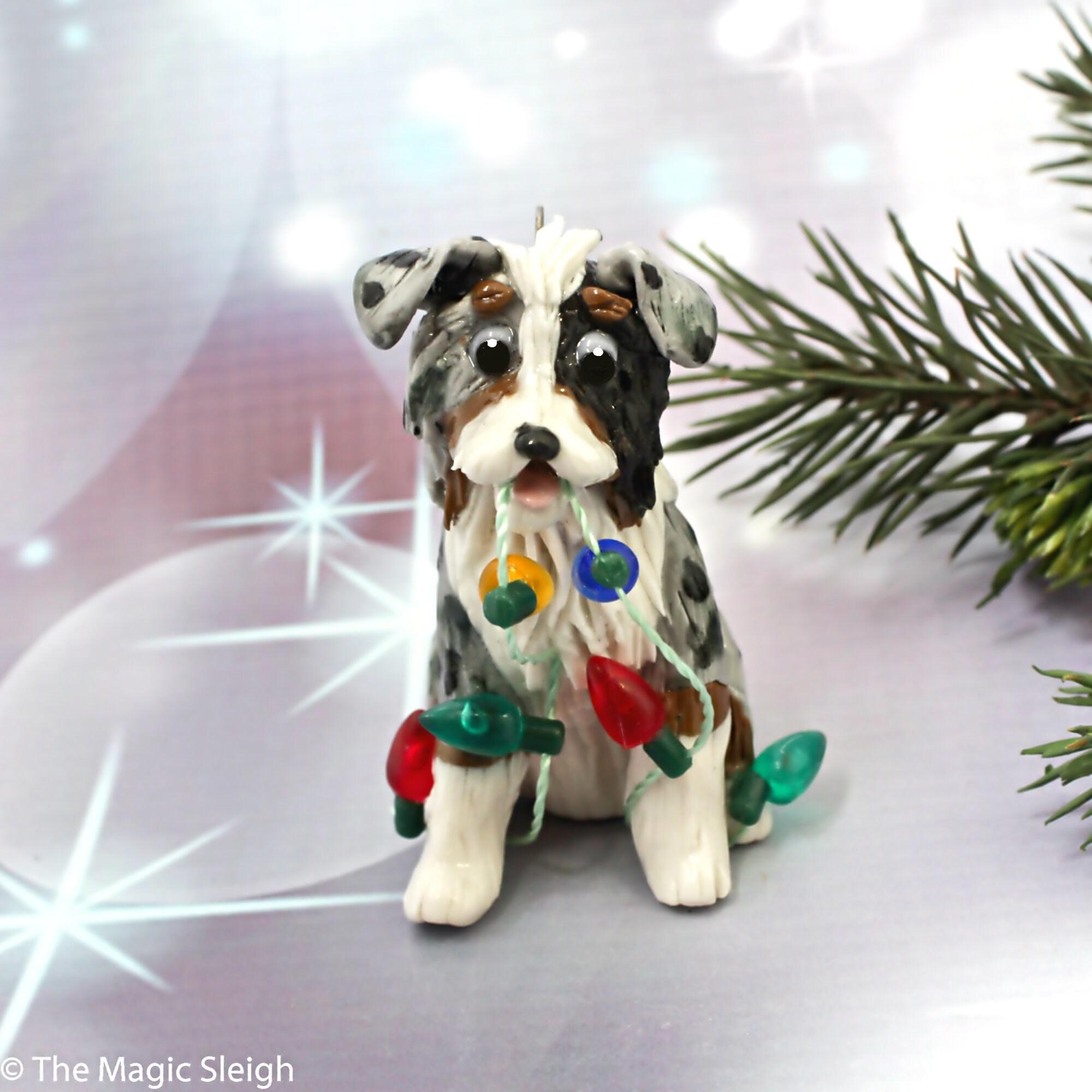 Australian Shepherd Christmas Ornament.Australian Shepherd Blue Merle Porcelain Christmas