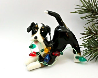 Greater Swiss Mountain Dog PORCELAIN Christmas Ornament Figurine with Lights