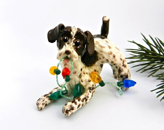 German Wirehaired Pointer Christmas Ornament Figurine Lights Porcelain