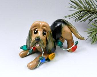 Bloodhound Christmas Ornament Figurine Lights Porcelain