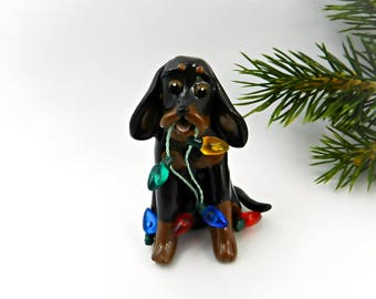 Black and Tan Coonhound Porcelain Christmas Ornament Figurine Clay Lights