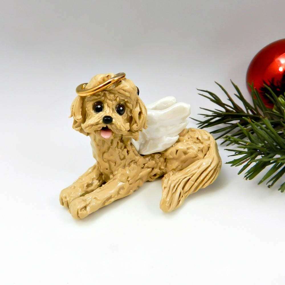 labradoodle goldendoodle christmas ornament angel porcelain