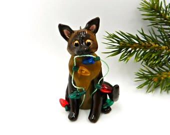 Burmese Siamese Cat PORCELAIN Christmas Ornament Figurine Lights