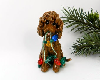 Irish Water Spaniel PORCELAIN Christmas Ornament Figurine with Lights